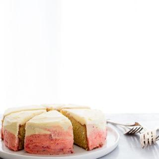 "Mini strawberry ombre cake recipe made in a 6"" cake pan."