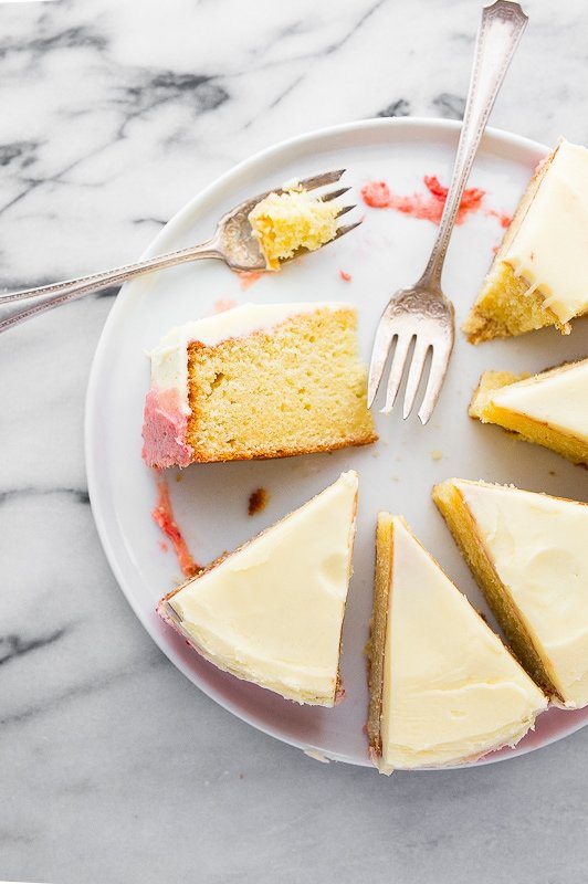 Mini strawberry cake with strawberry frosting and vanilla cake