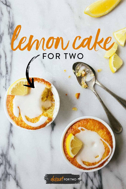 two lemon cakes in ramekins