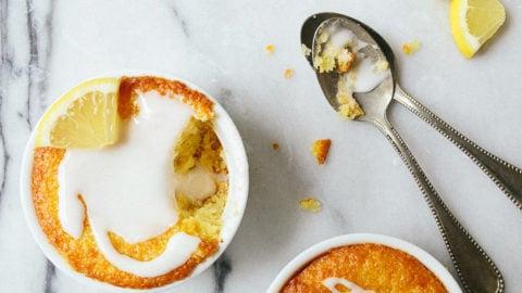 Mini lemon cake for two made in a ramekin. Small lemon layer cake.