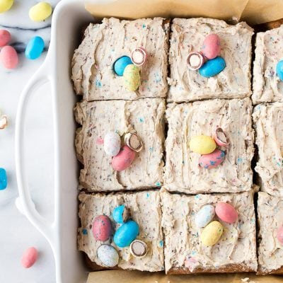 Malted Blondies with leftover Easter candy robin eggs