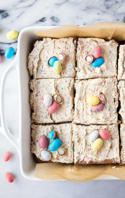 Robin's Eggs Blondie Bars with Frosting. The best use for leftover Easter candy--Robin's egg desserts