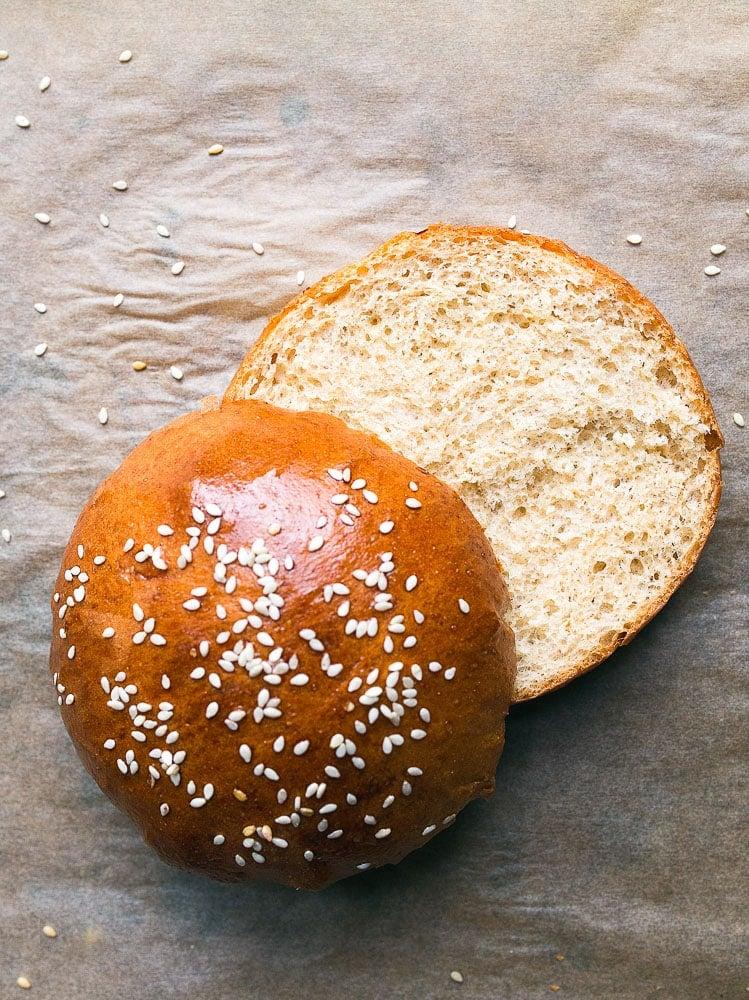 Whole wheat brioche buns for hamburgers