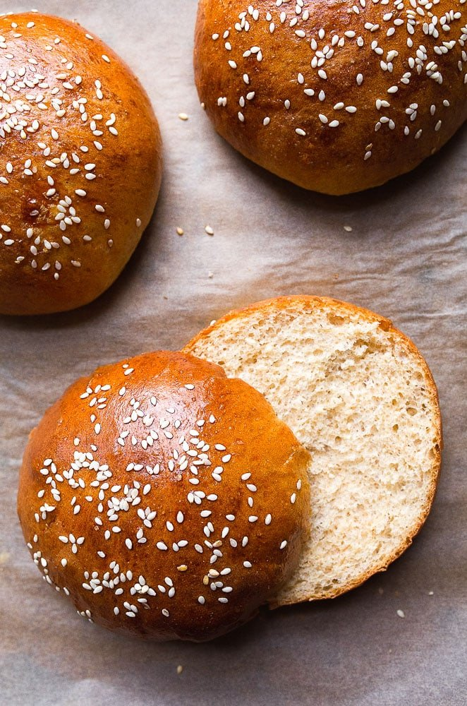 Homemade hamburger bun recipe, small batch. Recipe makes just 4 burger buns.