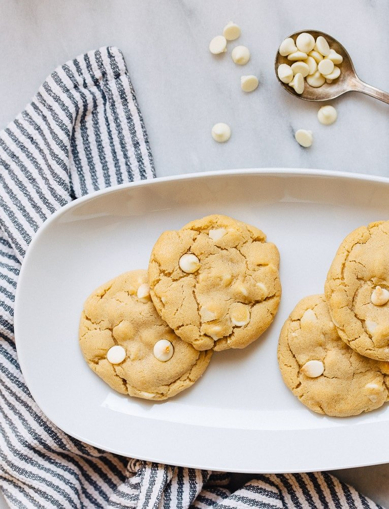 Macadamia nut cookies with white chocolate chunks. Small batch cookie recipe makes 6 cookies.