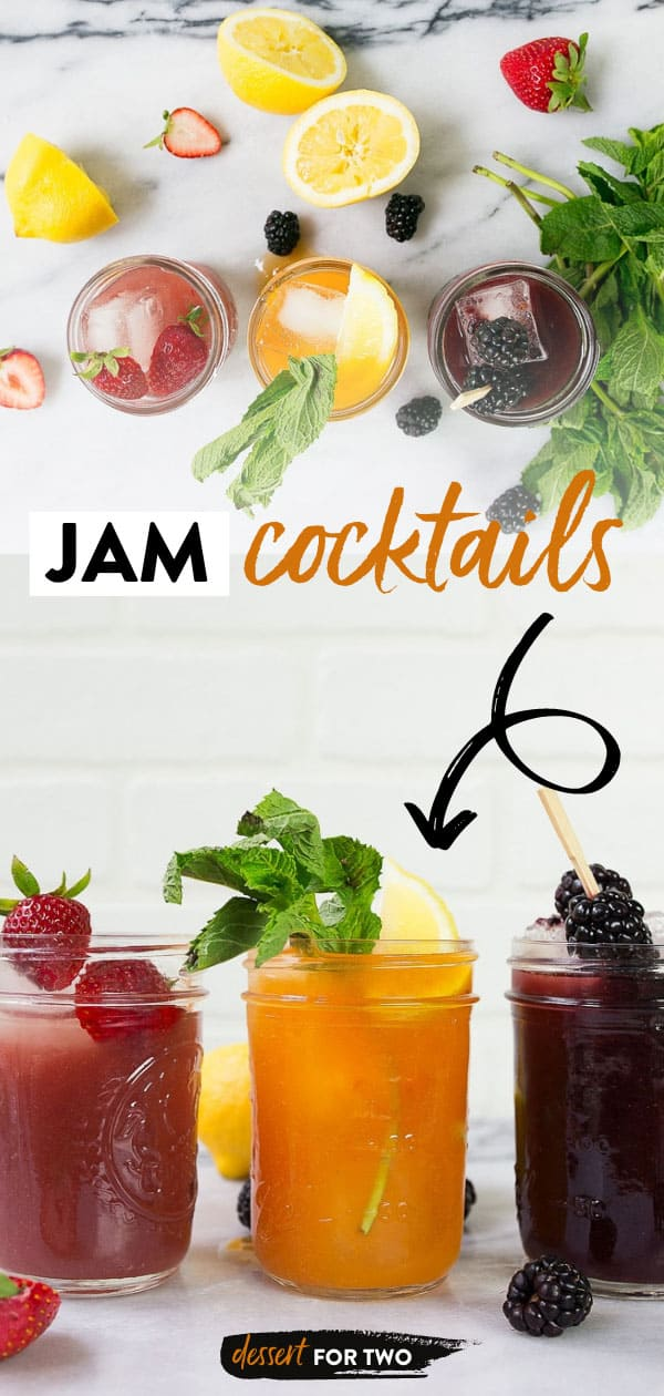 Three jars of cocktails made with jam and fresh fruit.