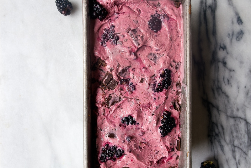 Homemade Blackberry Chip Ice Cream: no churn, no condensed milk
