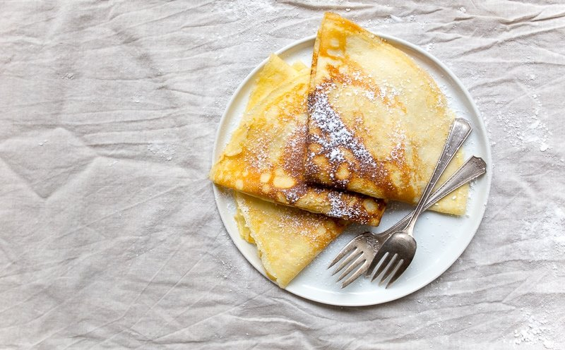 Small batch crepes recipe for two.