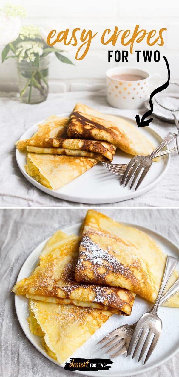 Crepe recipe for two people. A small batch crepes for two recipe that makes just 3 large crepes. Fill it with fruit for dessert or enjoy them savory. #crepes #french #frenchfood #breakfast