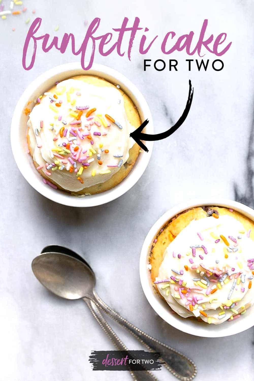 small funfetti cakes in two ramekins