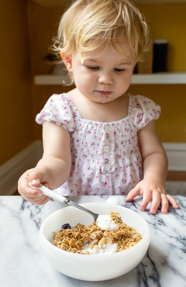 Kid-friendly granola recipe made with seeds instead of large nuts and crispy freeze dried fruit.