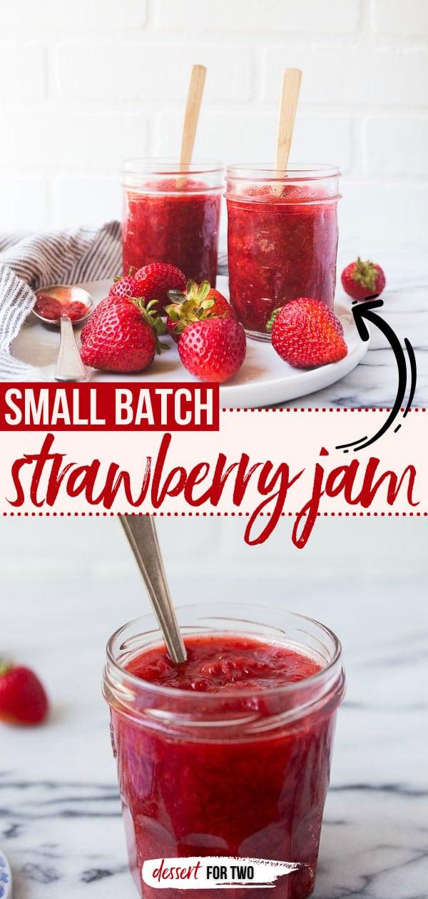 Small batch of strawberry jam.