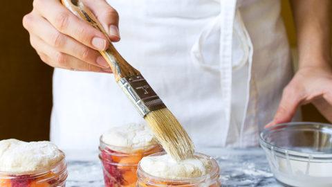Peach Raspberry Cobbler in Mason Jars