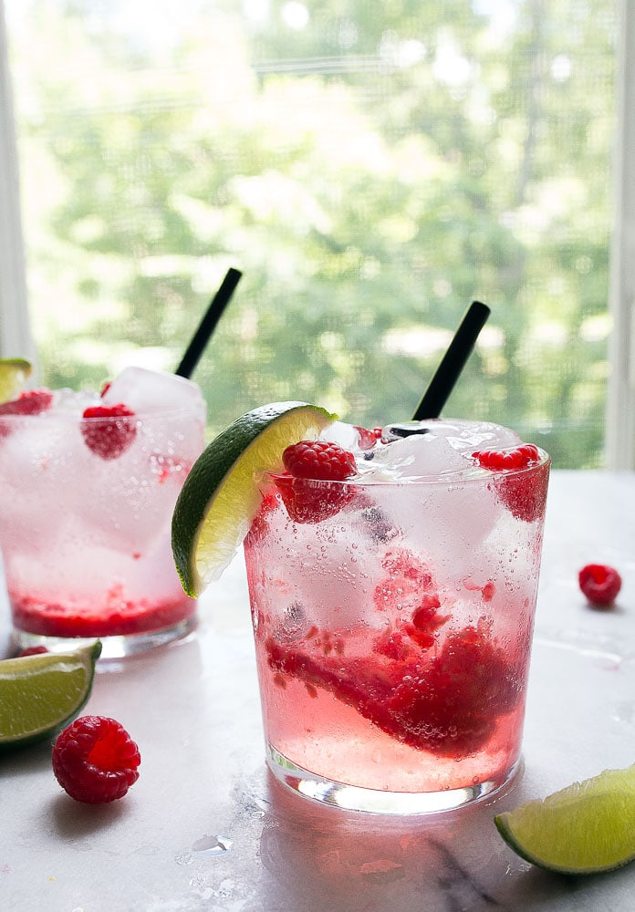 Fresh Raspberry Limeade, the perfect summer cocktail for two.