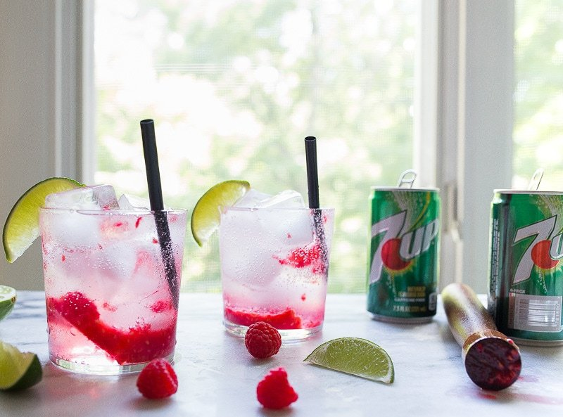 Boozy Raspberry Limeade with Rum or Vodka for two.