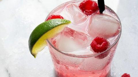 Fresh Raspberry Limeade with vodka