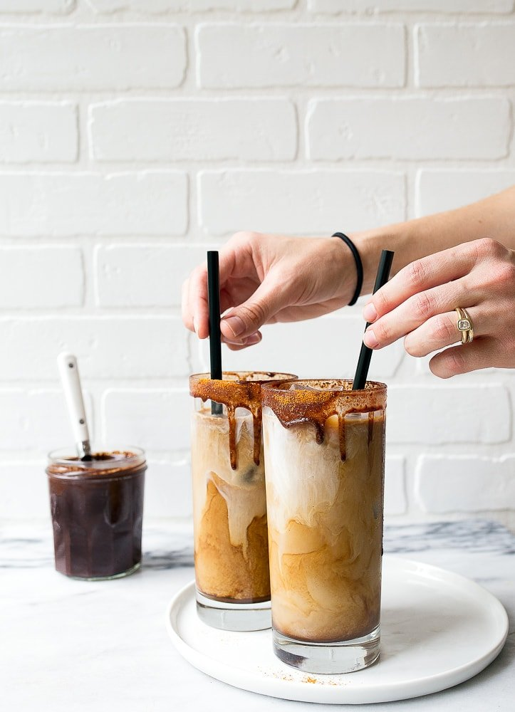 Spicy Iced Mochas with Homemade Chocolate Sauce. Make your own mocha at home, skip the coffee shop!
