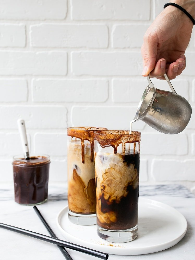 Spicy Iced Mochas with a Homemade Chocolate Syrup with a kick. Coffee shop at home!