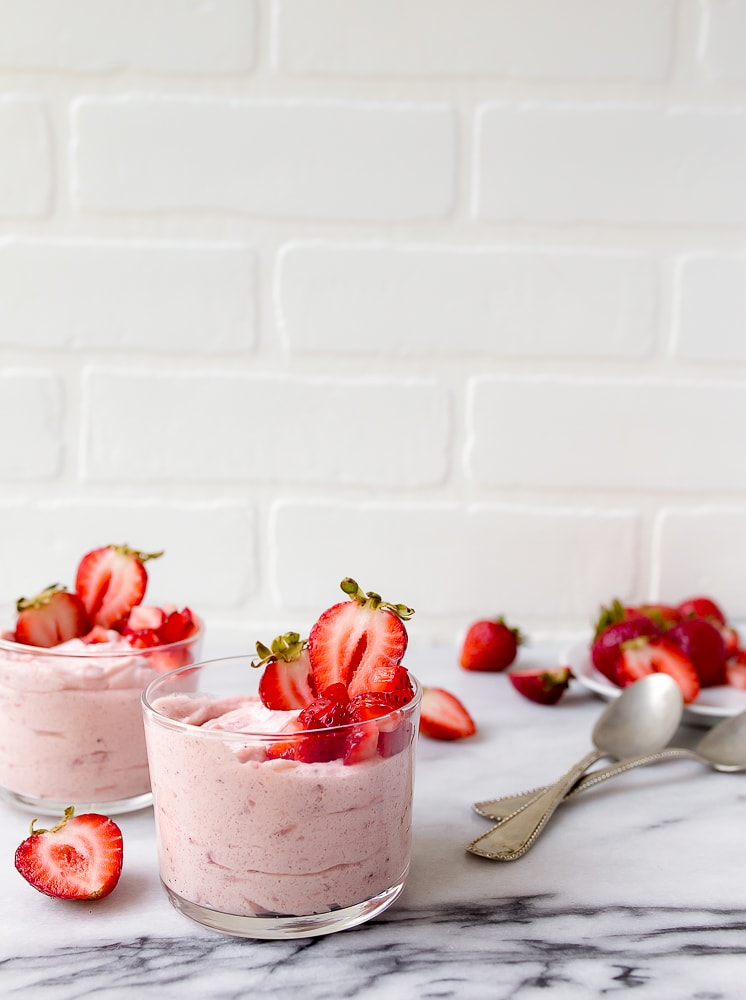 Strawberry Mousse for Two. No bake strawberry dessert for two.