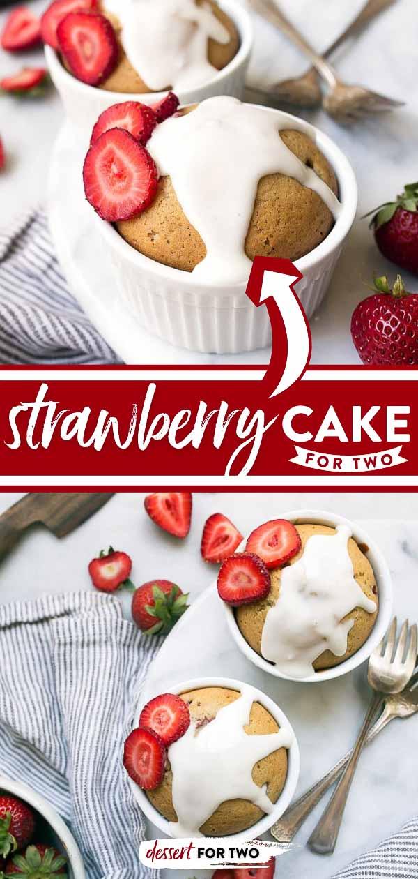 Strawberry cake for two in ramekins.