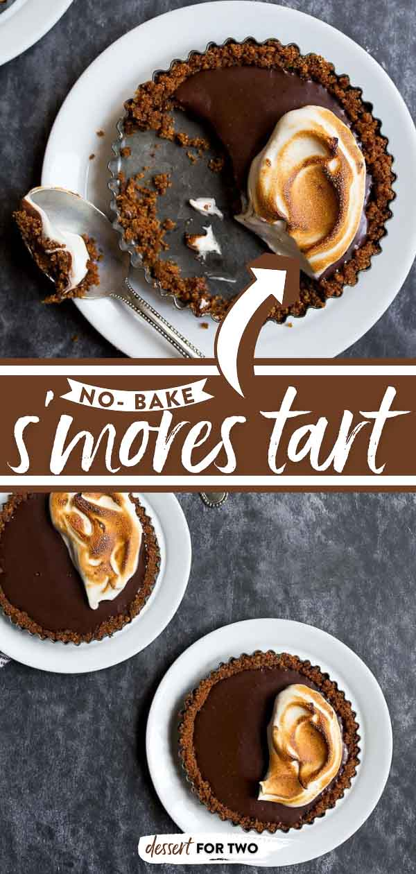 Smores Tart for Two with easy graham cracker crust, 2-ingredient chocolate filling and torched marshmallow meringue! #smores #smorestart #toastedmarshmallow #marshmallowmeringue #homemademarshmallow #tart #tarts