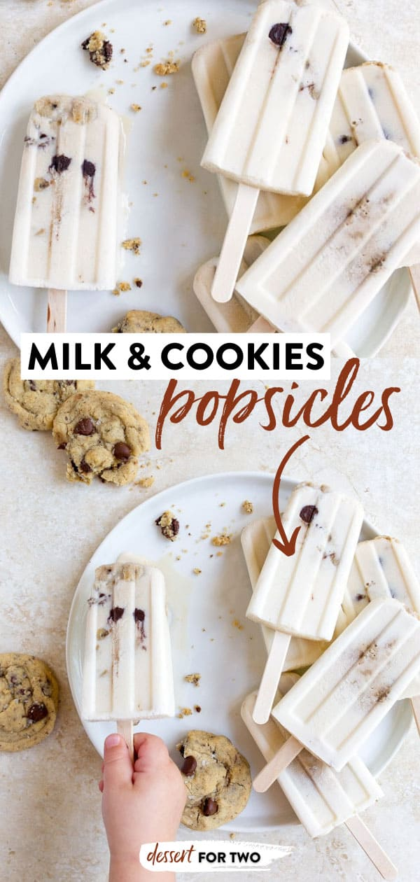 Milk and Cookies Popsicles for kids! Creamy milky popsicles studded with a small batch of chocolate chip cookies. #milkandcookies #popsicles #frozendesserts #smallbatch #chocolatechipcookies #icepops