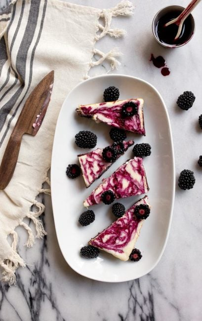 Blackberry Cheesecake Brownies for Two