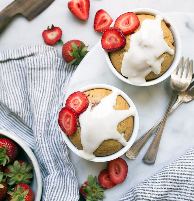 Strawberry Cake with Fresh Strawberries for two, made in ramekins.