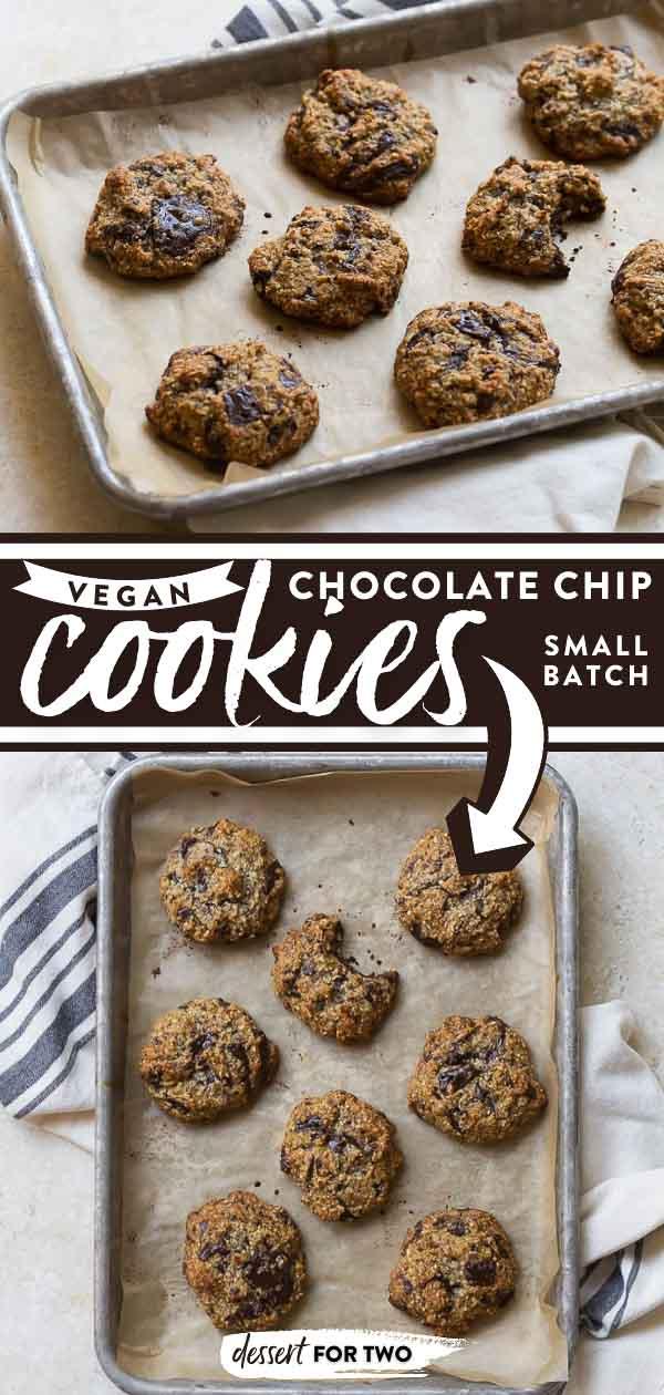 Vegan chocolate chip cookies on baking sheet.