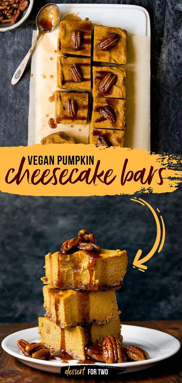 Vegan pumpkin cheesecake! Small batch vegan cheesecake made in a loaf pan. No bake! #nobake #vegan #vegandessert #pumpkincheesecake #pumpkin #veganpumpkin