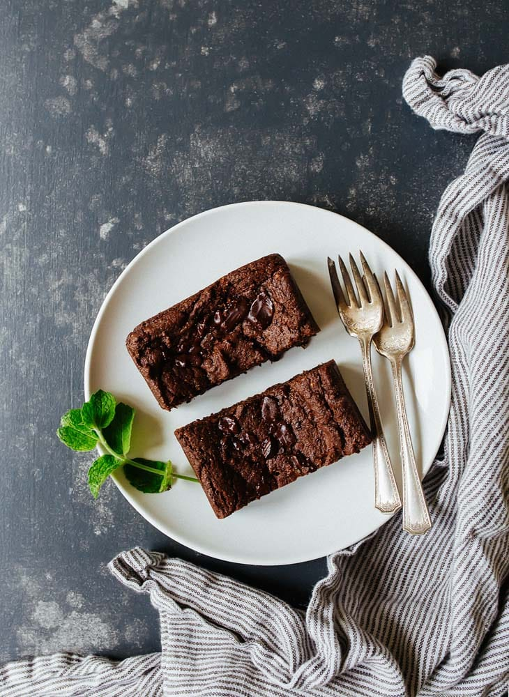 Vegan Brownies, small batch. Gluten free vegan brownies for two.