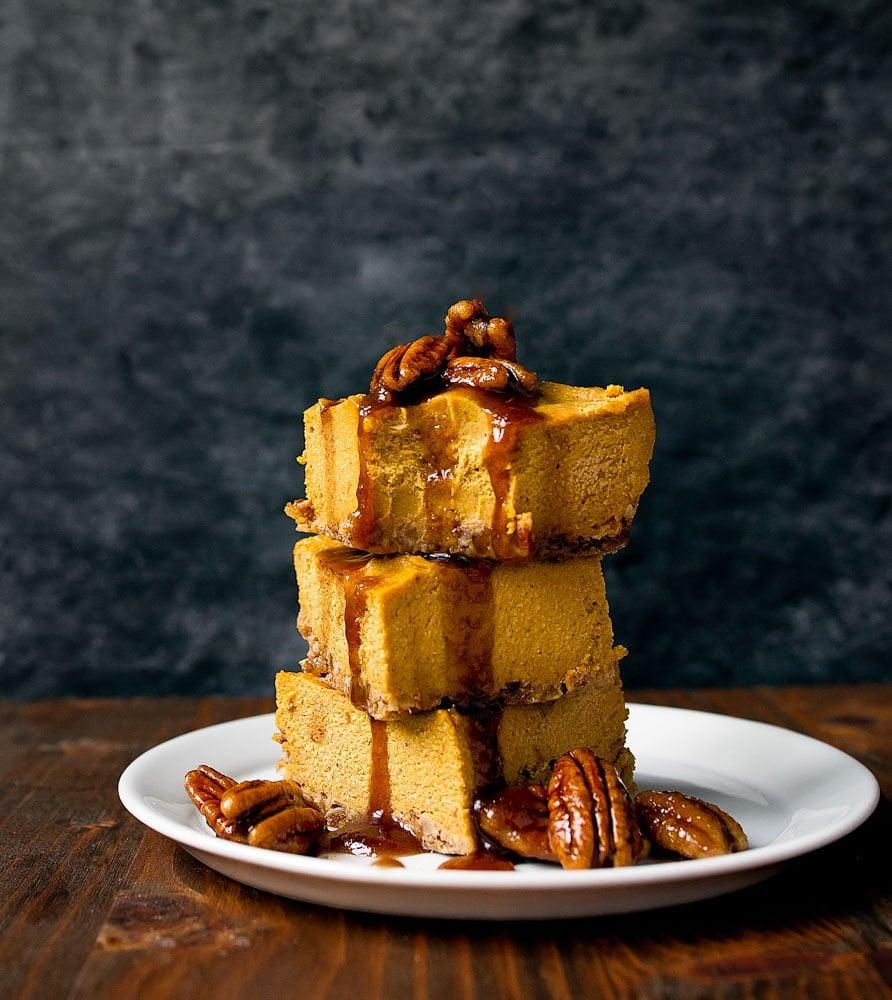Vegan Pumpkin No Bake Cheesecake Bars. Small batch cheesecake bars.