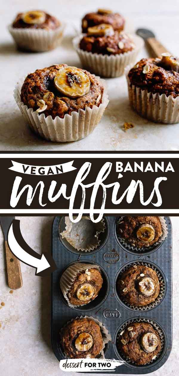 Vegan Banana Muffins (small batch) made with flax seed, coconut oil, and coconut sugar. Best healthy breakfast idea, or healthy after school snacks for kids.