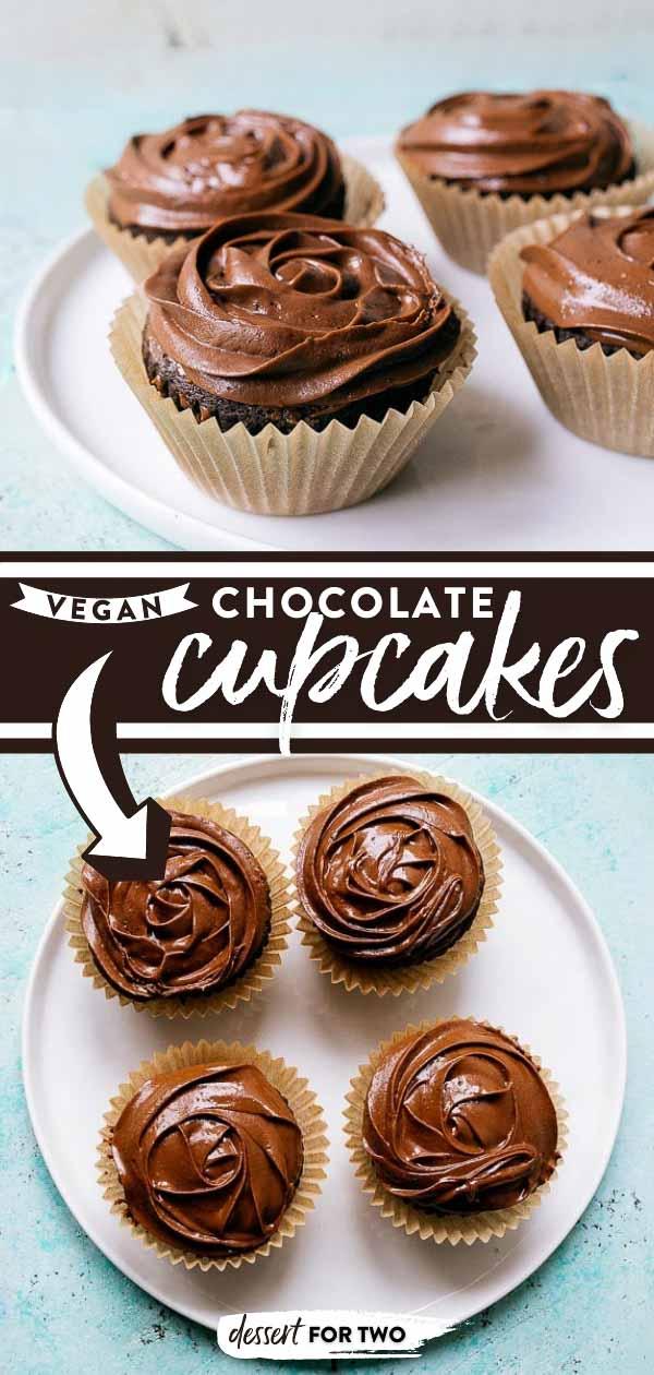 Vegan chocolate cupcakes with vegan chocoalte frosting. Recipe that makes 4 cupcakes. Plus, vegan buttercream frosting made WITHOUT vegan butter!