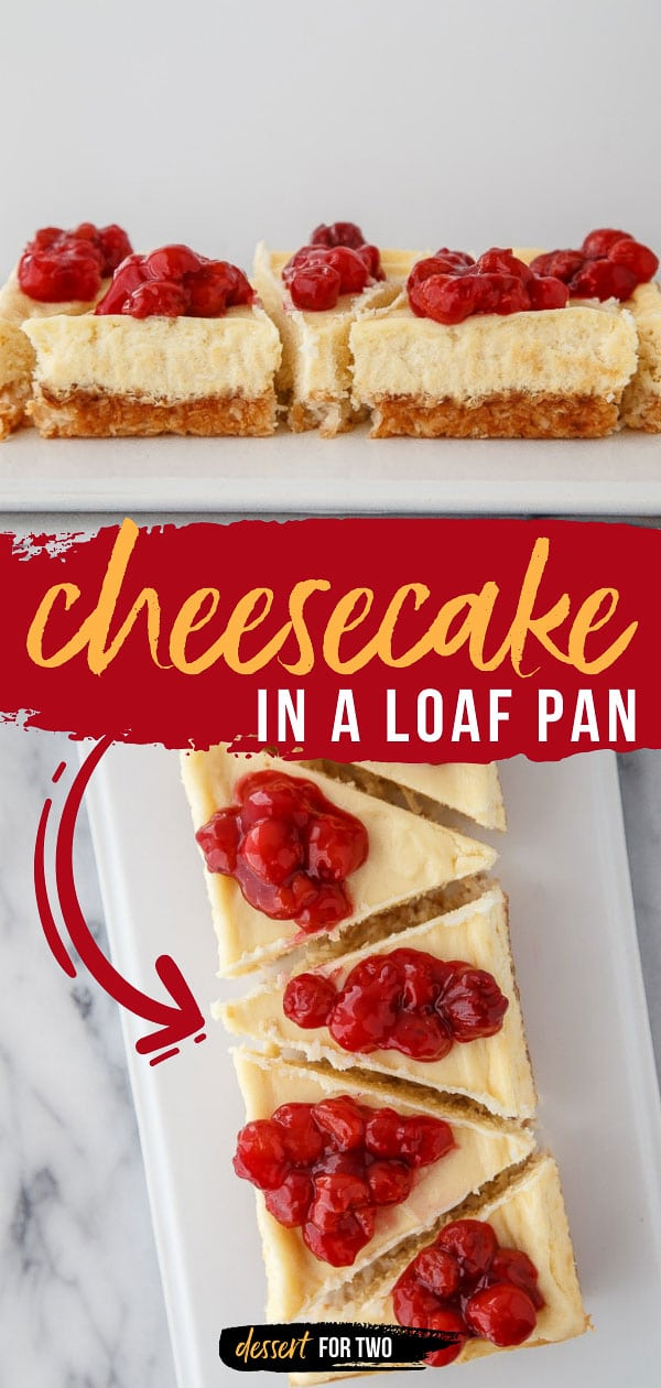 Cheesecake in a loaf pan. Small batch cheesecake for two. Makes just 5 slices of perfect, no crack cheesecake! Top with cherries or any fruit you like! #cheesecake #smallcheesecake #cheesecakefortwo #cookingfortwo #cheesecakeinaloafpan #loafpan #smallbatch #dessertfortwo #cherry #piecherries