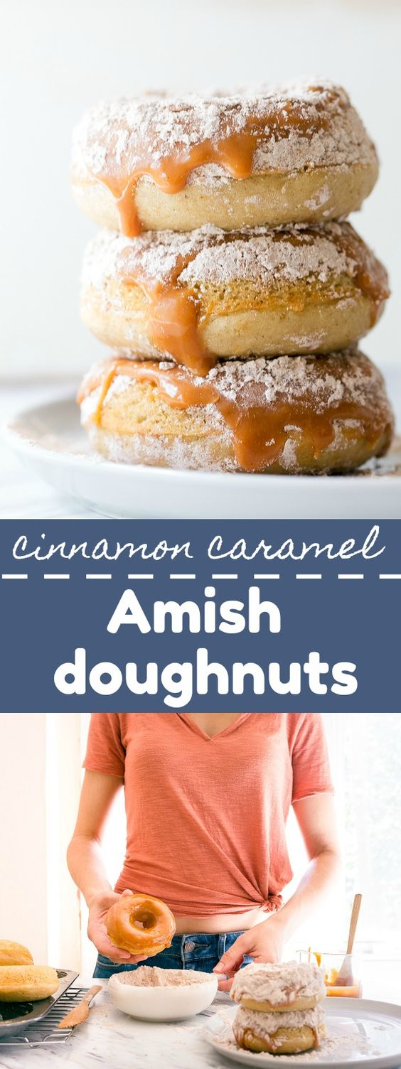 Cinnamon caramel Amish doughnuts. Copycat Rise N Roll donuts from Amish country in Indiana. Amish donuts that are actually baked, dipped in caramel and then sprinkled with cinnamon powdered sugar! #amishdonuts #amish #doughnuts #donuts #amishdoughnuts