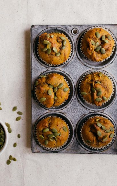 Small Batch Vegan Pumpkin Muffins for two. Recipe makes just 6 pumpkin muffins. Small pumpkin desserts.