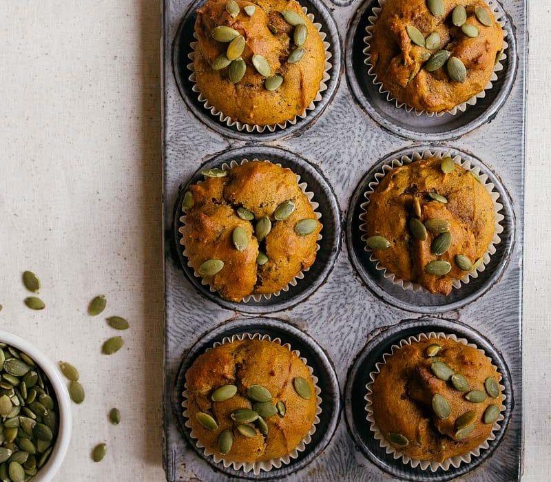 Small Batch Vegan Pumpkin Muffins for two. Recipe makes just 6 pumpkin muffins. Small pumpkin desserts.