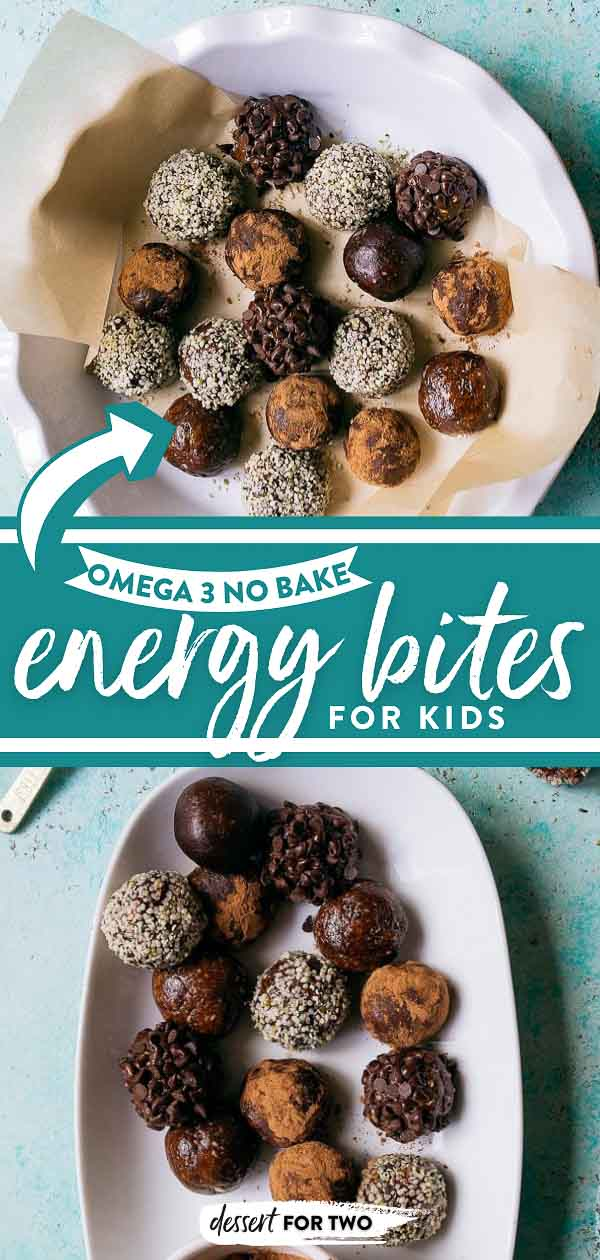 Omega 3 rich chocolate hemp energy bites for kids. No bake energy bites for healthy kid snacks or kid lunch boxes.