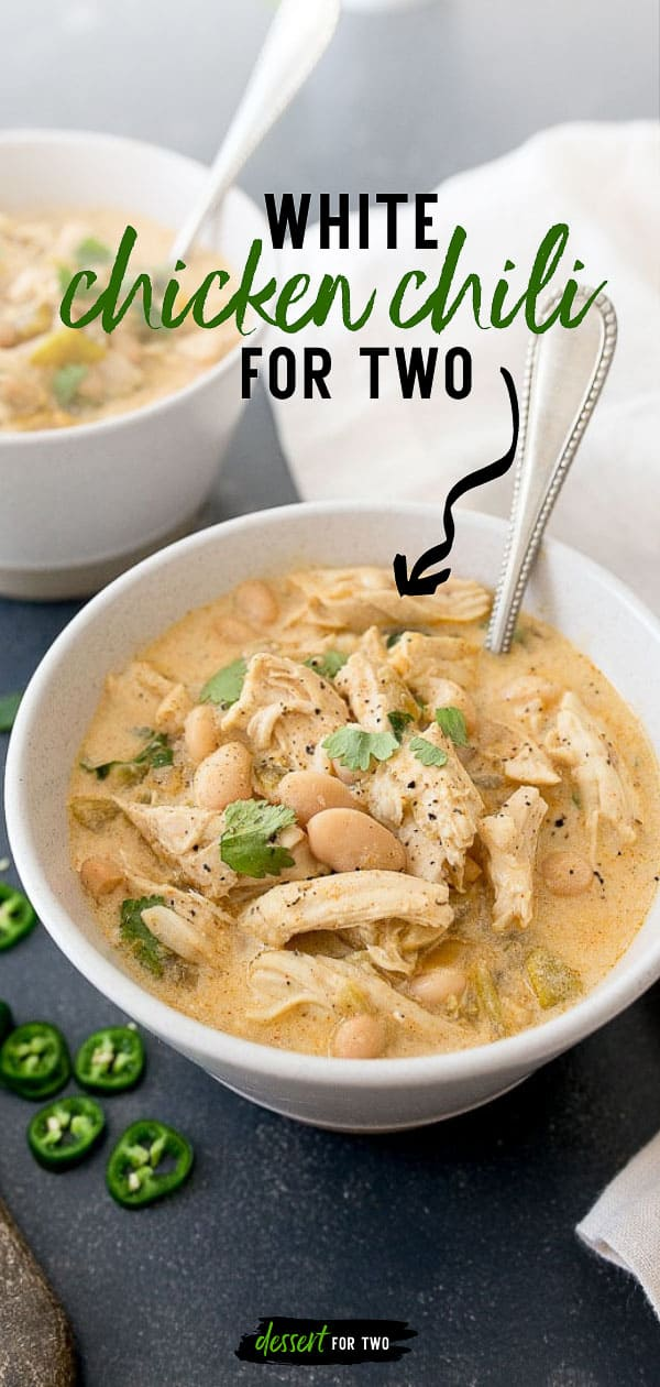 White chicken chili for two recipe made in just 30 minutes. Full of white beans, green chiles, and sour cream, small batch chili recipe.