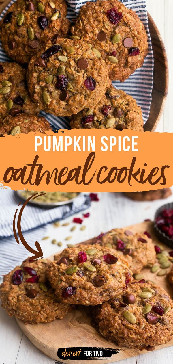 Pumpkin Spice Oatmeal Cookies with chocolate chips, dried cranberries, and pumpkin seeds (pepitas!). Big, thick chewy oatmeal cookies by Sally's Baking Addiction.