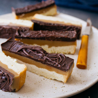 Chocolate Caramel Cookie Bars, AKA Copycat Twix, Homemade Twix Bars, or Millionaire Shortbread Bars. Small batch recipe! Makes 6 bars.