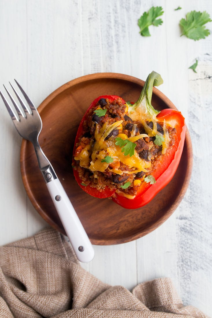 Southwestern Stuffed Peppers for Two. Dinners for Two by Dessert for Two.