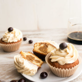 Tiramisu Cupcakes for Two, small batch style. Recipe makes 4 cupcakes. Vanilla cupcakes with espresso-Kahlua soak and mascarpone frosting.