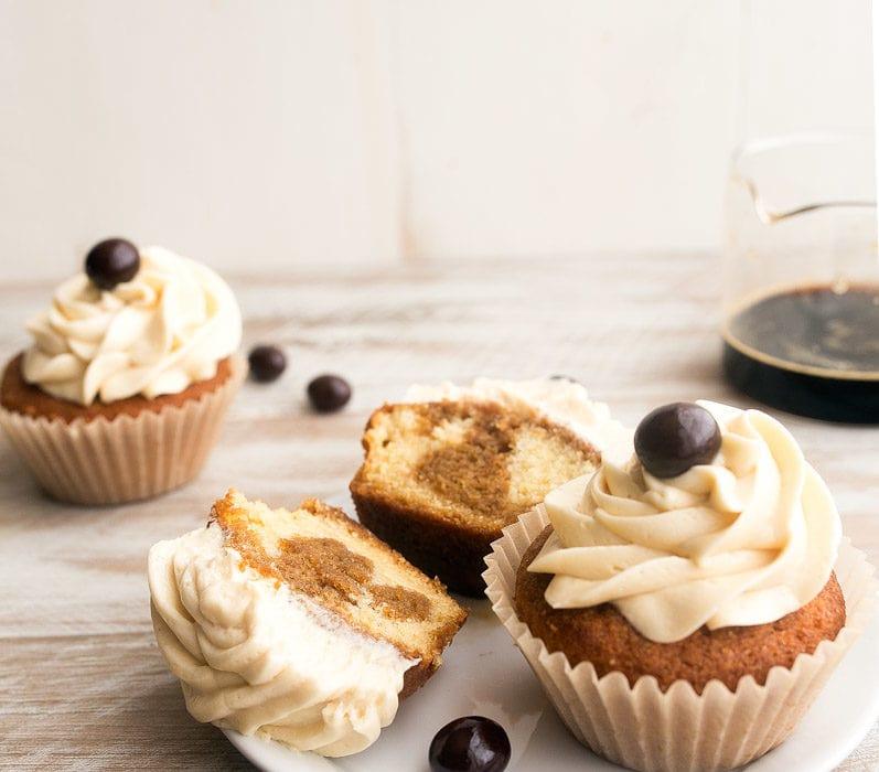 Tiramisu Cupcakes for Two, small batch style. Recipe makes 4 cupcakes. Vanilla cupcakes with espresso-Kahlua soak and mascarpone frosting.
