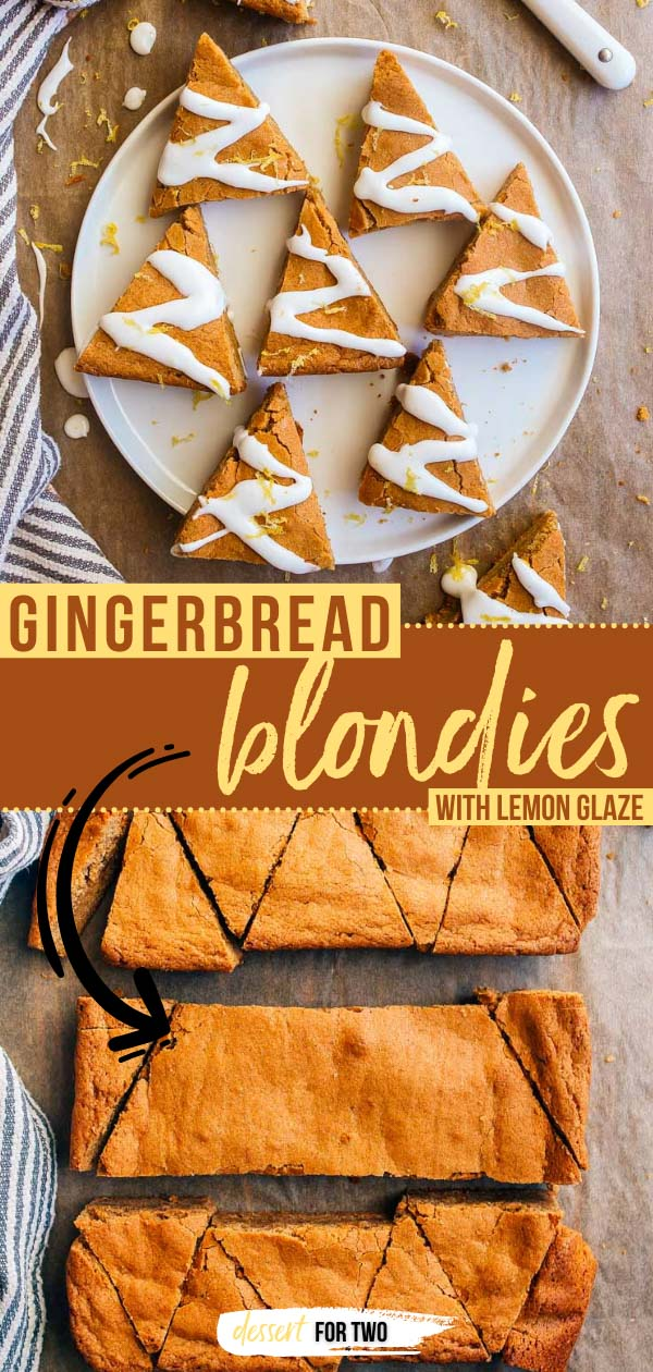 Gingerbread blondies with lemon glaze on plate.