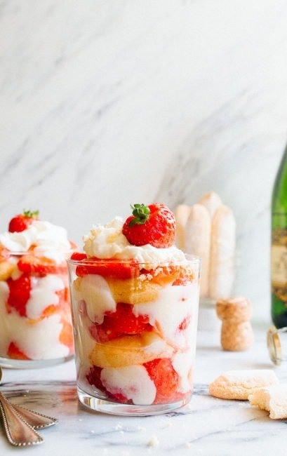 Strawberry Champagne Trifles for two are perfect New Year's Eve dessert idea. Easy no bake New Year's Eve dessert or Valentine's Day dessert for two.