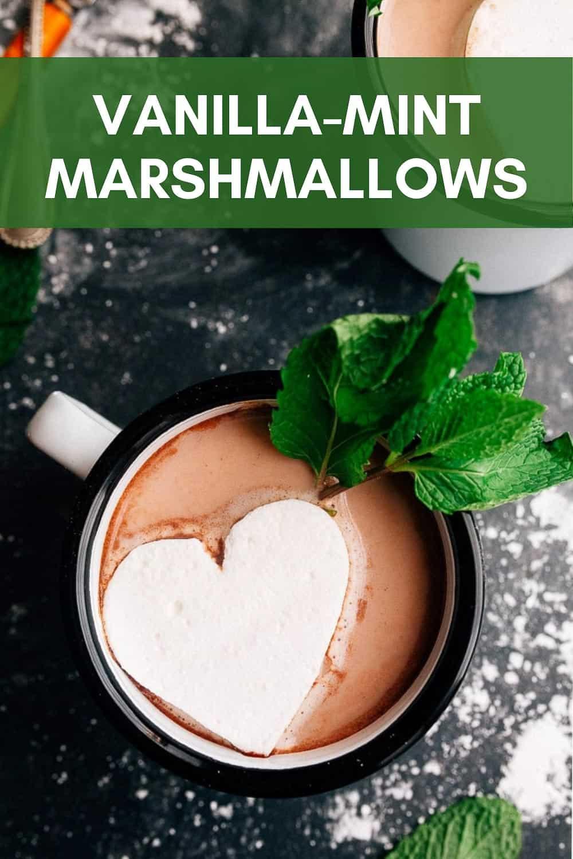 Homemade vanilla peppermint marshmallows. Best hot chocolate. Easiest hot chocolate. Fresh mint hot chocolate. Hot cocoa recipe with mint marshmallows.