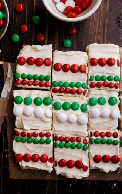 Christmas Sugar Cookie Bars: a small batch of frosted sugar cookie bars with Christmas candy to decorate. Cookies for Santa!