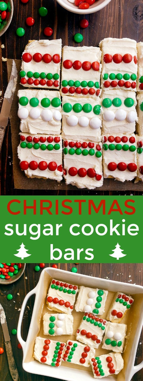 Christmas sugar cookie bars: easy cookies for Santa! M&Ms sugar cookie bars for Santa.